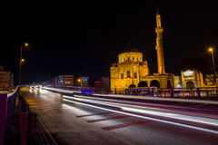 Istanbul street scene with mosque Stock Photos