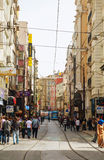 Istanbul street with a tram Royalty Free Stock Images