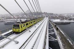 Free Istanbul Subway Metro Train Passing And People Walking On The Golden Horn Metro Bridge Stock Photo - 66682290