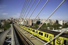 Istanbul subway metro train passing from the Golden Horn Metro Bridge Stock Photography