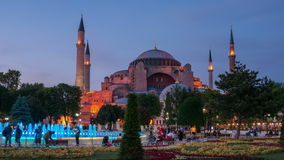 Istanbul Sultanahmet Park at night stock footage