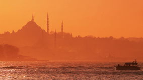 Istanbul. Sunrise on the Goldenhorn with boat
