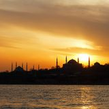 Istanbul on sunset. Hagia Sophia and Blue Mosque on sunset in Istanbul Stock Photo