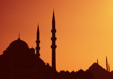 Istanbul Sunset. With Mosque and Minarettes royalty free stock images