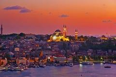 Istanbul sunset. Panorama - Turkey travel background royalty free stock image