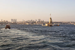 Istanbul at sunset with Maiden's tower in the foreground Stock Images