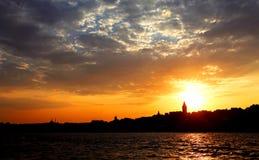 Istanbul Sunset Panorama Royalty Free Stock Photography