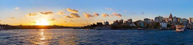 Istanbul sunset panorama. Turkey travel background stock images
