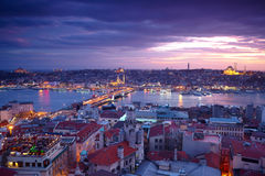 Istanbul Sunset Panorama. From Galata Tower Royalty Free Stock Photography