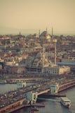 Istanbul Sunset Panorama Stock Photography