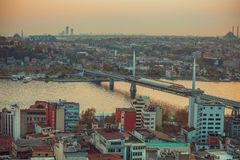Istanbul Sunset Panorama Royalty Free Stock Images