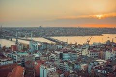 Istanbul Sunset Panorama Royalty Free Stock Image