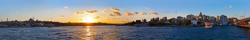 Istanbul sunset panorama. Turkey travel background stock photos