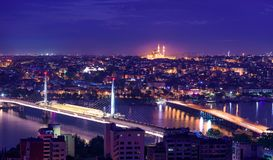 Istanbul Sunset. With purple colors on suleymani mosque in Istanbul, Turkey. View from Galata tower in Istanbul stock photos
