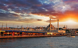 Istanbul at sunset, Turkey. Istanbul at a dramatic sunset with sun Royalty Free Stock Image