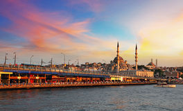 Istanbul at sunset, Turkey. Istanbul at a dramatic sunset with sun royalty free stock photos