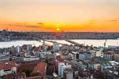 Istanbul, sunset view from Galata tower. To city district royalty free stock photography