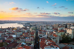 Istanbul, sunset view from Galata tower. To city district stock photos