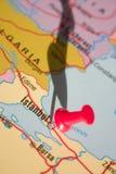 Istanbul sur la carte Image libre de droits