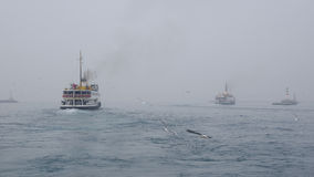 Istanbul throat difficulties ferry ride in the fog Royalty Free Stock Photography