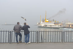 Istanbul throat difficulties ferry ride in the fog Stock Photography