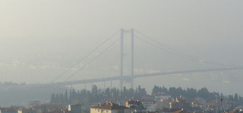 Istanbul throat difficulties ferry ride in the fog Stock Images