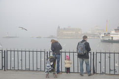 Istanbul throat difficulties ferry ride in the fog Stock Image