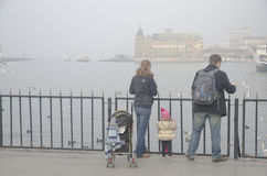 Istanbul throat difficulties ferry ride in the fog Stock Photos