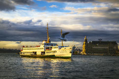 Istanbul throat historic Haydarpasa train station and the ferry. Royalty Free Stock Photo