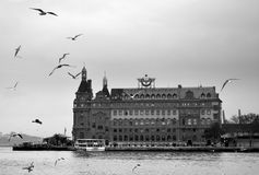 Istanbul throat historic Haydarpasa train station and the ferry. Royalty Free Stock Image