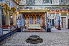 Istanbul. Topkapi palace, harem. Istanbul, Turkey - May 5, 2017: Detail from throne room inside Harem section of Topkapi Palace stock photography