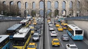 Istanbul Traffic Jam Timelapse in Turkey 2016 Unkapani Sarachane District stock video