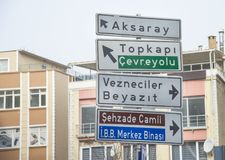 Istanbul traffic signs to the city districts. Istanbul traffic signs to the city districts royalty free stock image