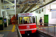 Istanbul tunnel train. Tunnel  is a short underground railway line in Istanbul, Turkey. It is an underground funicular with two stations, connecting the Stock Images