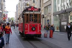 Istanbul, Turkey – April 29, 2018: Historic tram rides along Istiklal street during daytime stock photography