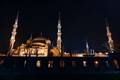 The Blue Mosque, outside at night with minaret Royalty Free Stock Photography