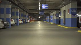 ISTANBUL - TURKEY 28 April 2016 Cars on underground parking inside building stock video footage