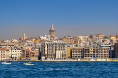 City view of Istanbul, Turkey from the sea overlooking Galata Tower and Karakoy Royalty Free Stock Photo