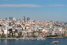 Istanbul, Turkey - April 19, 2017: City view from Suleymaniye Mosque overlooking the Golden Horn Stock Image