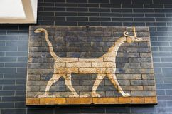 Element with animals of the Babylonian wall in the museum in Turkey. ISTANBUL, TURKEY - 4 APRIL , 2017:Element with animals of the Babylonian wall in the museum royalty free stock images
