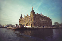 Istanbul,Turkey - April 15, 2015 : Famous and historical Haydarpasa train station. Royalty Free Stock Images