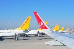 ISTANBUL, TURKEY - APRIL, 2017: Sabiha Gokcen airport. Airport. Jetway, aerobridge, skybridge. Airport air bridge. Pegasus and turkish airlines aircraft stock photo