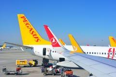 ISTANBUL, TURKEY - APRIL, 2017: Sabiha Gokcen airport. Airport. Jetway, aerobridge, skybridge. Airport air bridge. Pegasus and turkish airlines aircraft stock photos