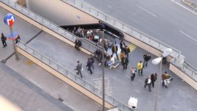 ISTANBUL - TURKEY 28 April 2016 Subway station entrance people using escalators. Top view stock video footage