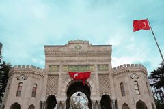Istanbul, Turkey/April 8 2018: View of the main gate of the hist royalty free stock image