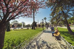 View of Sultan Ahmed Mosque from the Sultanahmet Park royalty free stock photos