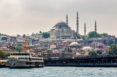 Blue Mosque view from the Bosporus. Istanbul, Turkey - AUG 18, 2015: Blue Mosque view from the Bosporus Stock Photos