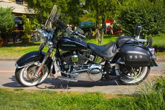 Istanbul; TURKEY, August 08, 2018: Brand new light black motorcycle with street of a Harley-Davidson Deluxe royalty free stock photo