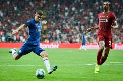 Istanbul, Turkey - August 14, 2019: Christian Pulisic and Joel Matip during the UEFA Super Cup Finals match between Liverpool and