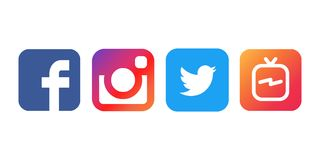 Istanbul, Turkey - August 30, 2018: Collection of popular social media logos printed on white paper: Facebook, Instagram, Twitter royalty free illustration